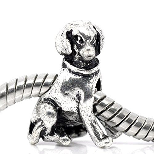 Sitting Dog Charm for European Snake Chain Charm Bracelet