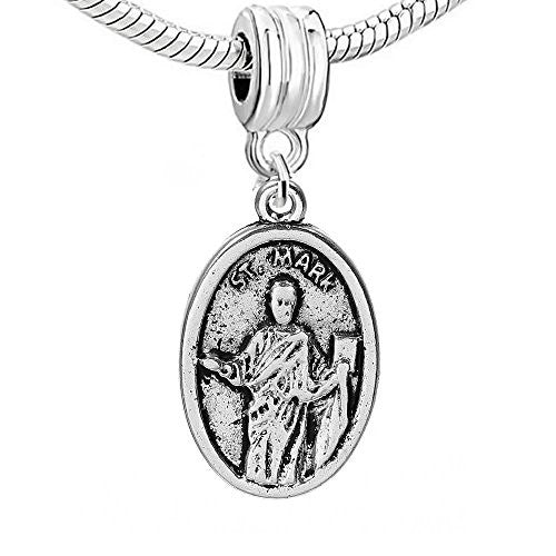 "Oval Religious Figure ""ST.MARK & PRAY FOR US"" Carved for European Snake Chain Charm Bracelet,SEXY SPARKLES"