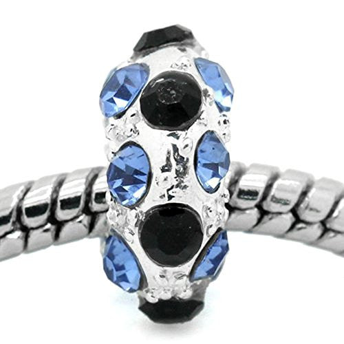 Blue, Clear and Black Bead Spacer for Snake Chain Charm Bracelet