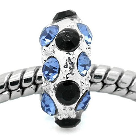 Blue, Clear and Black Bead Spacer for Snake Chain Charm Bracelet - Sexy Sparkles Fashion Jewelry - 1
