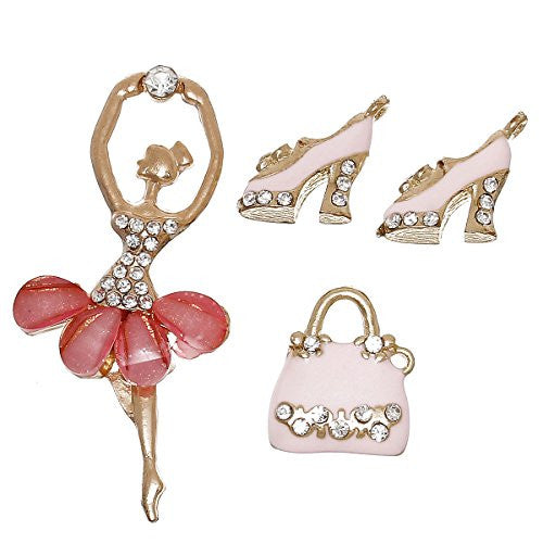 4 Mixed Charm Pendants Ballerina, Heels and Hand Bag for Bracelet or Necklace - Sexy Sparkles Fashion Jewelry - 1