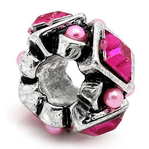 Hot Pink  Rhinestones Bead Charm Spacer For Snake Chain Charm Bracelet
