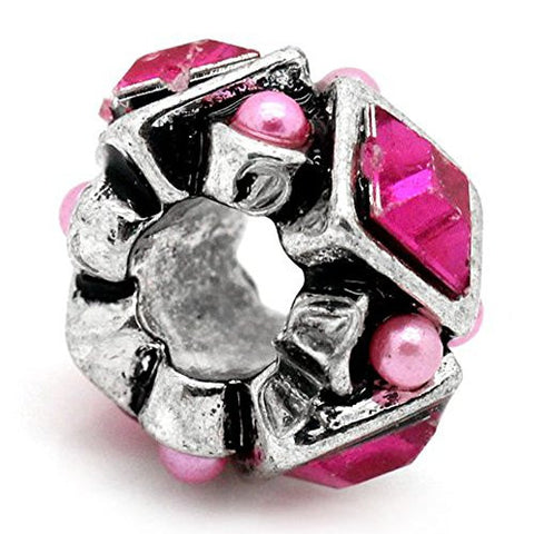 Hot Pink  Rhinestones Bead Charm Spacer For Snake Chain Charm Bracelet - Sexy Sparkles Fashion Jewelry - 1