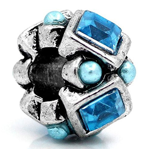 Blue  Rhinestones Bead Charm Spacer For Snake Chain Charm Bracelet - Sexy Sparkles Fashion Jewelry - 1