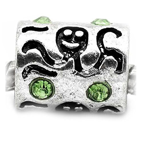 Octopus Carved on Charm W/Green crystals Bead Charm Spacer For Snake Chain Bracelet