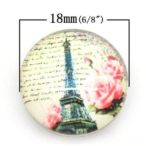 Vintage Eiffel Tower Design Glass Chunk Charm Button Fits Chunk Bracelet - Sexy Sparkles Fashion Jewelry - 2