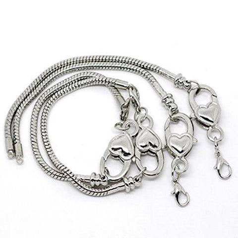 "7.0"" Heart Lobster Clasp Charm Bracelet Silver Tone for European Charms - Sexy Sparkles Fashion Jewelry - 3"