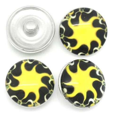 Sun Design Glass Chunk Charm Button Fits Chunk Bracelet 18mm for Noosa Style Chunk Leather Bracelet - Sexy Sparkles Fashion Jewelry - 3