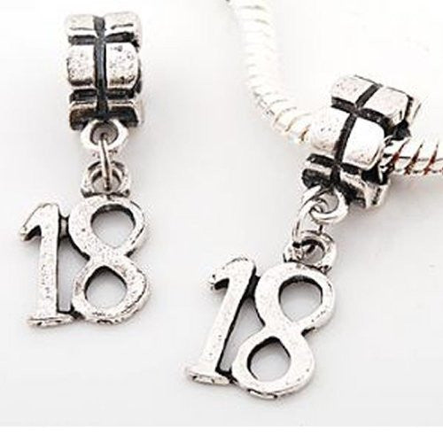Number 18 Dangle Charms From For Snake Chain charm Bracelets