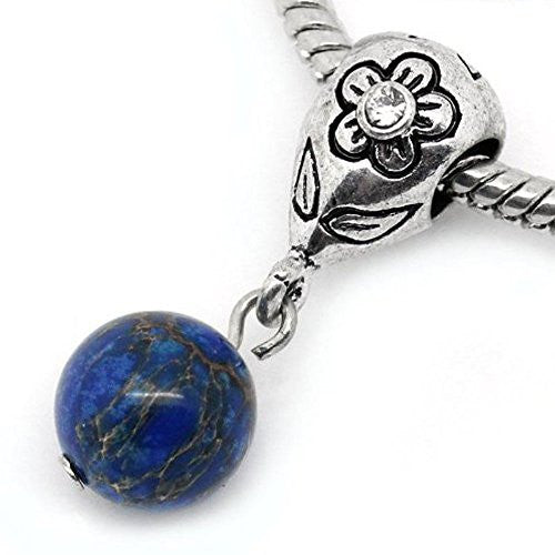 Royal Blue Dangle Ball with Rhinestones Bead Charm Spacer for Snake Chain Charm Bracelets