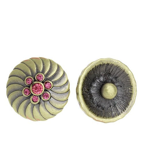 Chunk Snap Buttons Fit Chunk Bracelet Round Antique Bronze Flower Pattern Carved Pink Rhinestone 20mm