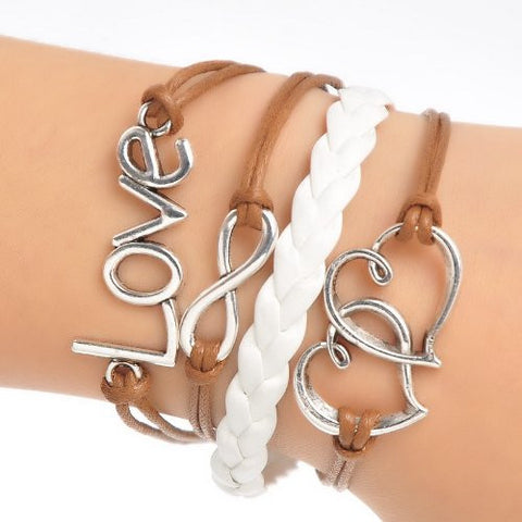 Braiding Leatheroid Wax Rope Bracelets Coffee Antique Silver Double Hearts Infinity Symbol Love W/Lobster Clasp - Sexy Sparkles Fashion Jewelry - 3