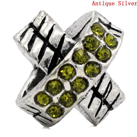 X Design W/august Peridot Light Green Birthstone  Crystals European Bead Compatible for Most European Snake Chain Charm Bracelet - Sexy Sparkles Fashion Jewelry - 2