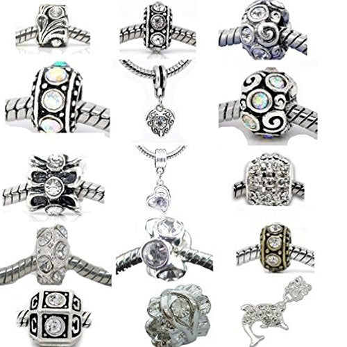 Ten (10) Rhinestone Charm Beads in Assorted s for Snake Chain Charm Bracelet Clear