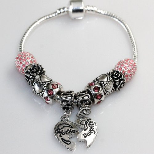 "7.5"" Mother Daughter Charm Bracelet Pandora Style - Sexy Sparkles Fashion Jewelry"