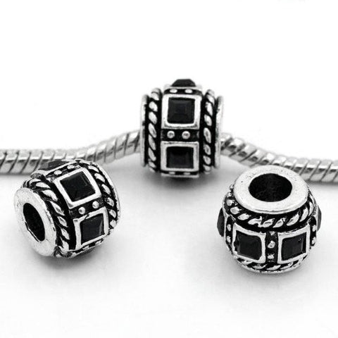 Black Crystal Charm Beads for Snake Chain Bracelets - Sexy Sparkles Fashion Jewelry - 3