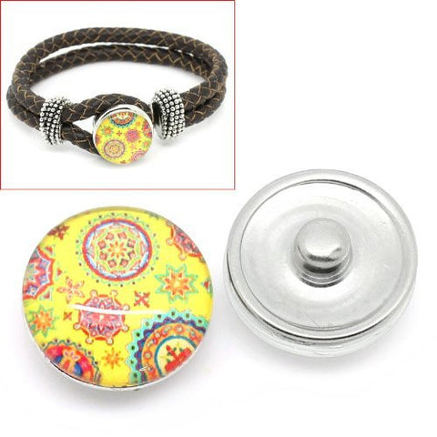 Floral Vintage Design Glass Chunk Charm Button Fits Chunk Bracelet - Sexy Sparkles Fashion Jewelry - 4