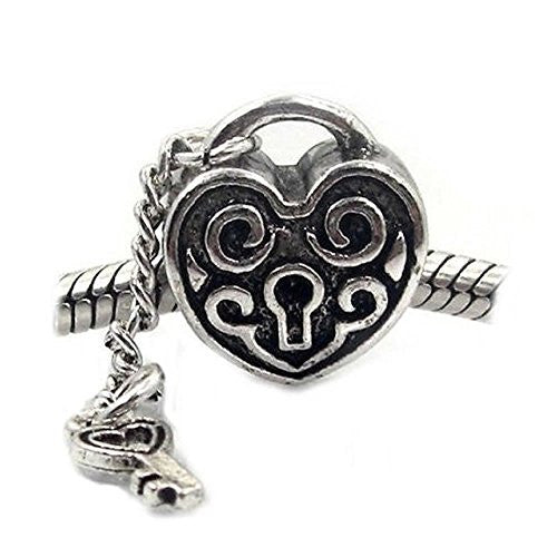 Key to My Heart Dangling Charm Spacer Beads for Snake Chain Charm Bracelet