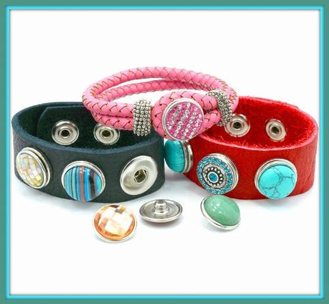 Starter Interchangeable Snap Leather Bracelet and Chunk Charm - Sexy Sparkles Fashion Jewelry - 5