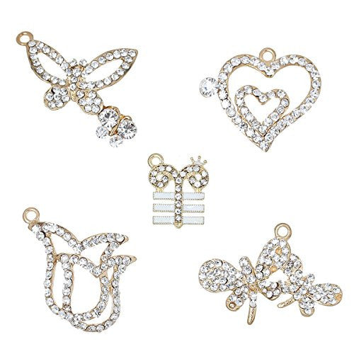 5 Mixed Charm Pendants Heart, Butterfly, Dragonfly, Flower and T with Crown for Bracelet or Necklace - Sexy Sparkles Fashion Jewelry