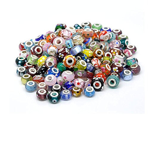 10 of Mix Murano Glass Beads for snake Chain charm Bracelet - Sexy Sparkles Fashion Jewelry