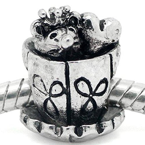 Mouse and Heart Inside Tea/coffee Cup European Bead Compatible for Most European Snake Chain Bracelet