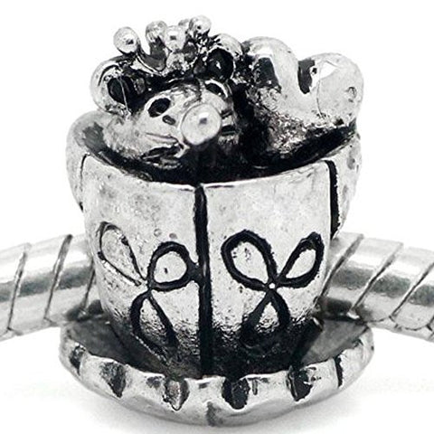 Mouse and Heart Inside Tea/coffee Cup European Bead Compatible for Most European Snake Chain Bracelet - Sexy Sparkles Fashion Jewelry - 1