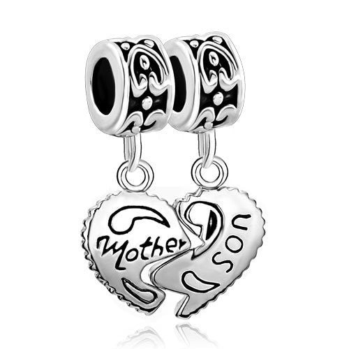 1 Pair Mother Son Heart Love European Bead Compatible for Most European Snake Chain Charm Bracelet - Sexy Sparkles Fashion Jewelry