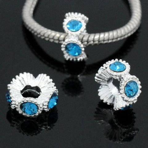 Flower with Light Blue Rhinestones Charm Spacer For Snake Chain Charm Bracelets - Sexy Sparkles Fashion Jewelry - 3