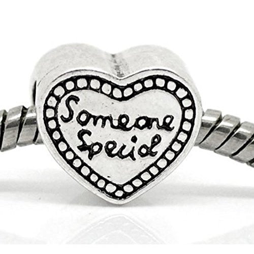 """Someone Special"" Heart Bead European Bead Compatible for Most European Snake Chain Bracelet"
