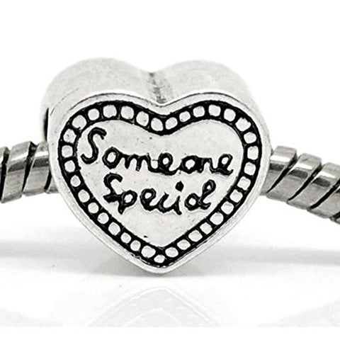 """Someone Special"" Heart Bead European Bead Compatible for Most European Snake Chain Bracelet - Sexy Sparkles Fashion Jewelry - 1"
