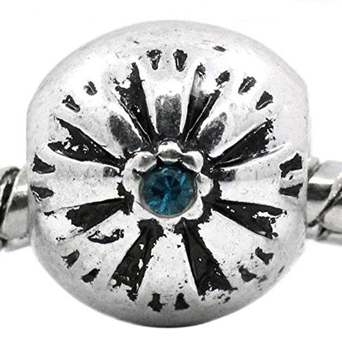 Flower Pattern Bead Spacer for Snake Chain Bracelets (Blue)