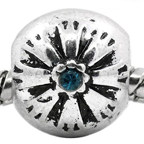 Flower Pattern Bead Spacer for Snake Chain Bracelets (Blue) - Sexy Sparkles Fashion Jewelry - 1