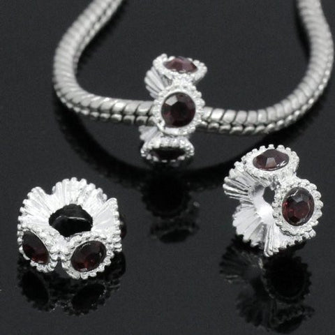 Flower with Red Rhinestones Charm Spacer For Snake Chain Charm Bracelets - Sexy Sparkles Fashion Jewelry - 3