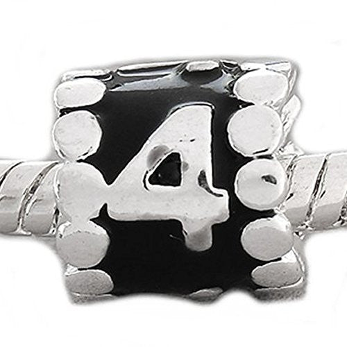 "Black Enamel Number Charm Bead  ""4"" European Bead Compatible for Most European Snake Chain Charm Bracelets - Sexy Sparkles Fashion Jewelry - 1"