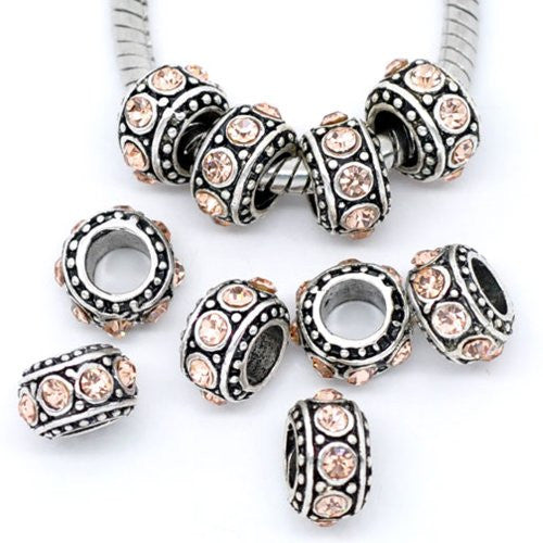 Five (5)November Birthstone  Topaz Rhinestone Charms Spacer Beads For Snake Chain Charm Bracelet