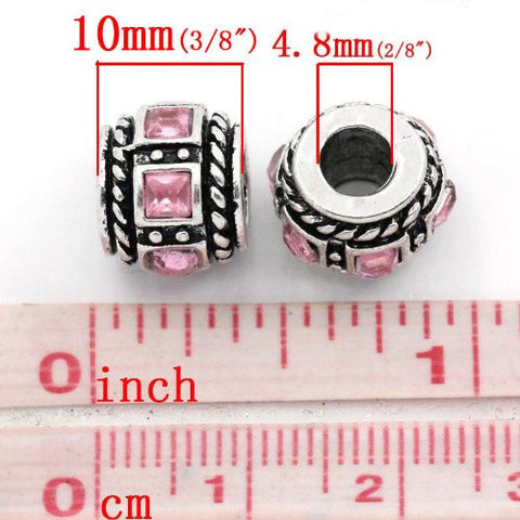 Square Design Pink Crystal European Bead Compatible for Most European Snake Chain Charm Bracelets - Sexy Sparkles Fashion Jewelry - 2