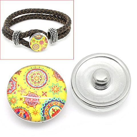 Floral Vintage Design Glass Chunk Charm Button Fits Chunk Bracelet - Sexy Sparkles Fashion Jewelry - 1