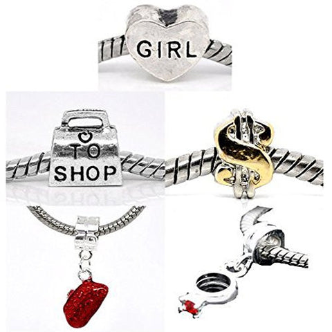 Set of 5 Charms Love to Shop Charm Beads For Snake Chain Bracelets - Sexy Sparkles Fashion Jewelry - 1