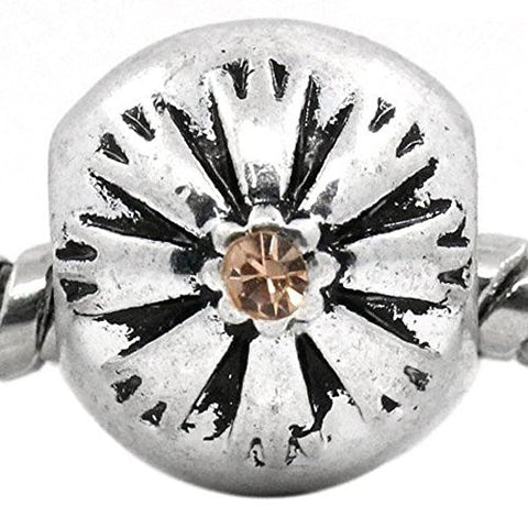 Flower Pattern Bead Spacer for Snake Chain Bracelets (Topaz) - Sexy Sparkles Fashion Jewelry - 1