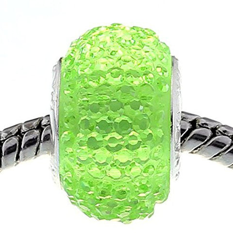 Green Glitter Charm fits European Snake Chain Charm Bracelets - Sexy Sparkles Fashion Jewelry - 1