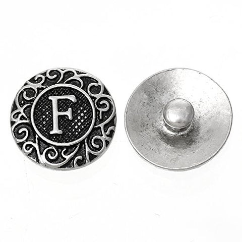 Alphabet Letter F Chunk Snap Button or Pendant Fits Snaps Chunk Bracelet - Sexy Sparkles Fashion Jewelry - 1