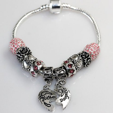 "6.5"" Mother Daughter Charm Bracelet Fits Beads For European Snake Chain Charms - Sexy Sparkles Fashion Jewelry - 2"