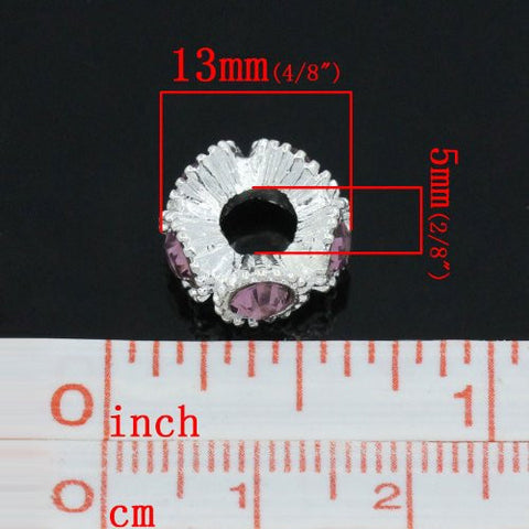 Flower with Methyst Rhinestones Charm Spacer For Snake Chain Charm Bracelets - Sexy Sparkles Fashion Jewelry - 2