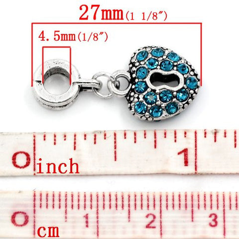 Aqua Crystals Heart Lock Dangle Charm Bead For Snake Chain Bracelets - Sexy Sparkles Fashion Jewelry - 3