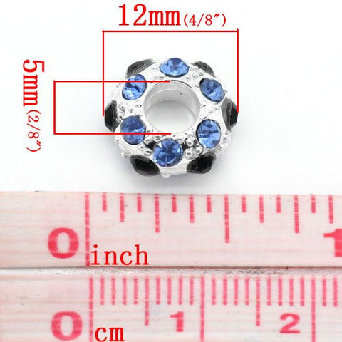 Blue, Clear and Black Bead Spacer for Snake Chain Charm Bracelet - Sexy Sparkles Fashion Jewelry - 2