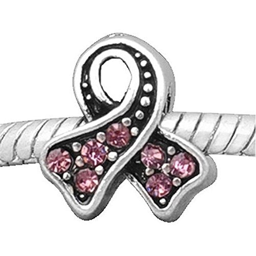 Awareness Pink Ribbon Charm European Bead Compatible for Most European Snake Chain Bracelet