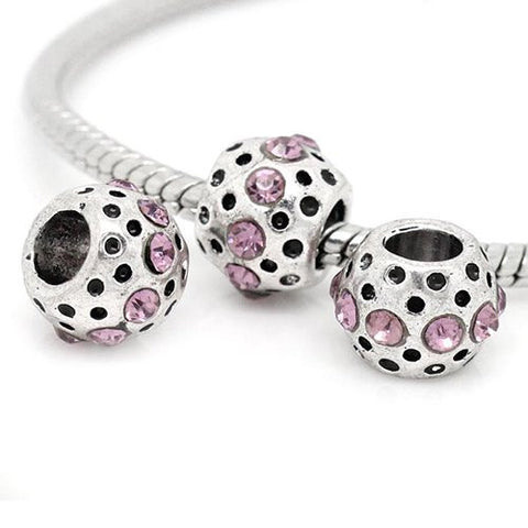 Mauve Rhinestone  Birthstone Charm European Bead Compatible for Most European Snake Chain Bracelets - Sexy Sparkles Fashion Jewelry - 2