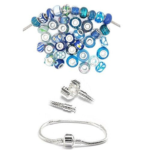 "8.0"" Snake Chain Bracelet + Ten (10) Pack of Assorted Blue Glass Beads"