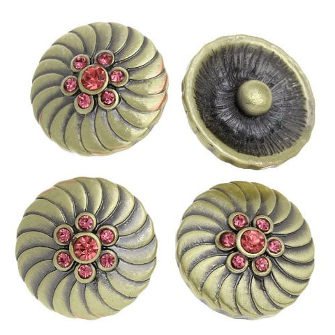 Chunk Snap Buttons Fit Chunk Bracelet Round Antique Bronze Flower Pattern Carved Pink Rhinestone 20mm - Sexy Sparkles Fashion Jewelry - 4